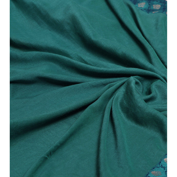 Green Tussar & Muga Silk Saree with Banarasi Brocade Patch - rang