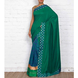 Green Tussar & Muga Silk Saree with Banarasi Brocade Patch