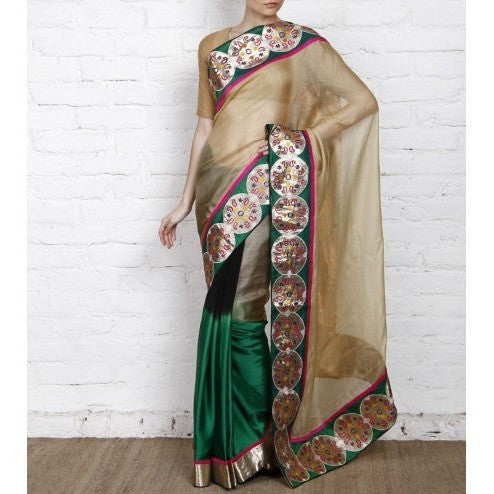 Beige & Green Kota Silk Saree - rang