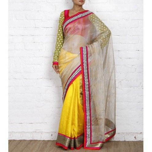 Beige & Yellow Kota Silk Saree