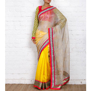 Beige & Yellow Kota Silk Saree - rang