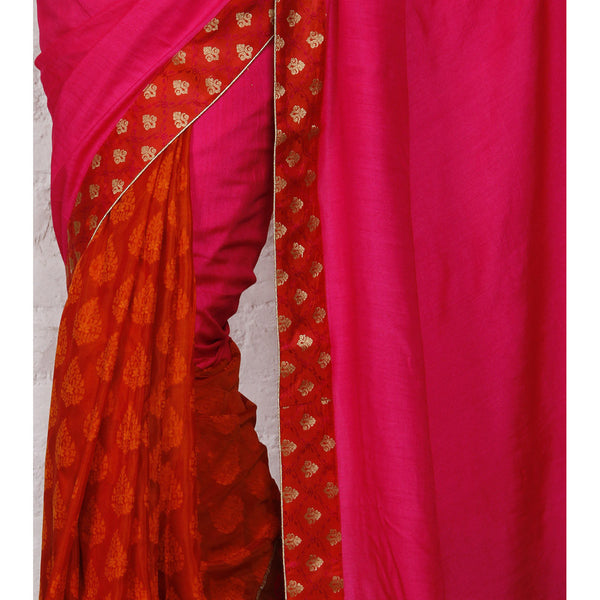 Pink Tussar & Muga Silk Saree with Banarasi Brocade Patch