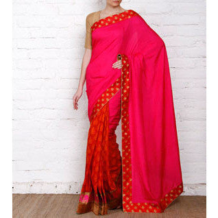 Pink Tussar & Muga Silk Saree with Banarasi Brocade Patch - rang