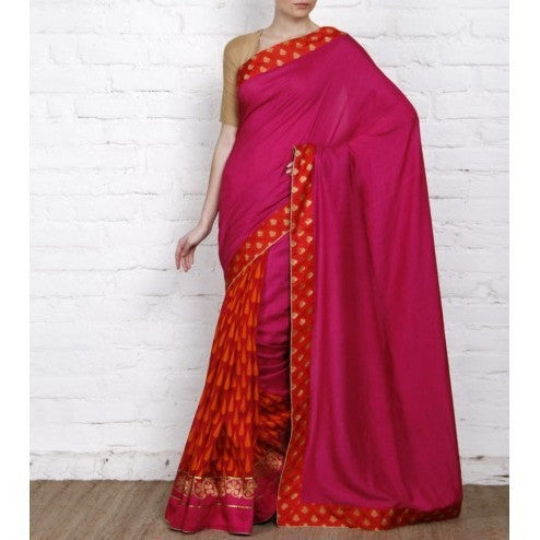 Pink Tussar & Muga Silk Sarees with Banarasi Brocade Patch