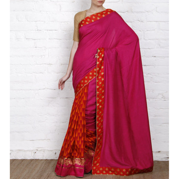 Pink Tussar & Muga Silk Sarees with Banarasi Brocade Patch - rang