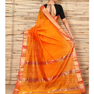 Orange & Pink Cotton Silk Maheshwari Saree