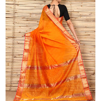 Orange & Pink Cotton Silk Maheshwari Saree - rang