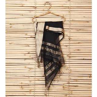 Black Cotton Silk Maheshwari Dupatta