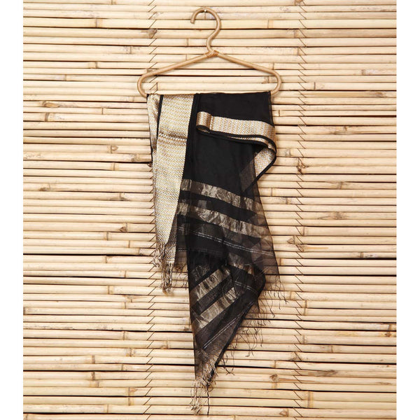 Black Cotton Silk Maheshwari Dupatta - rang