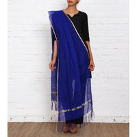 Blue Raw Silk Dupatta - rang