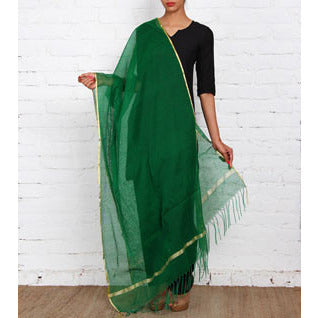 Green Raw Silk Dupatta