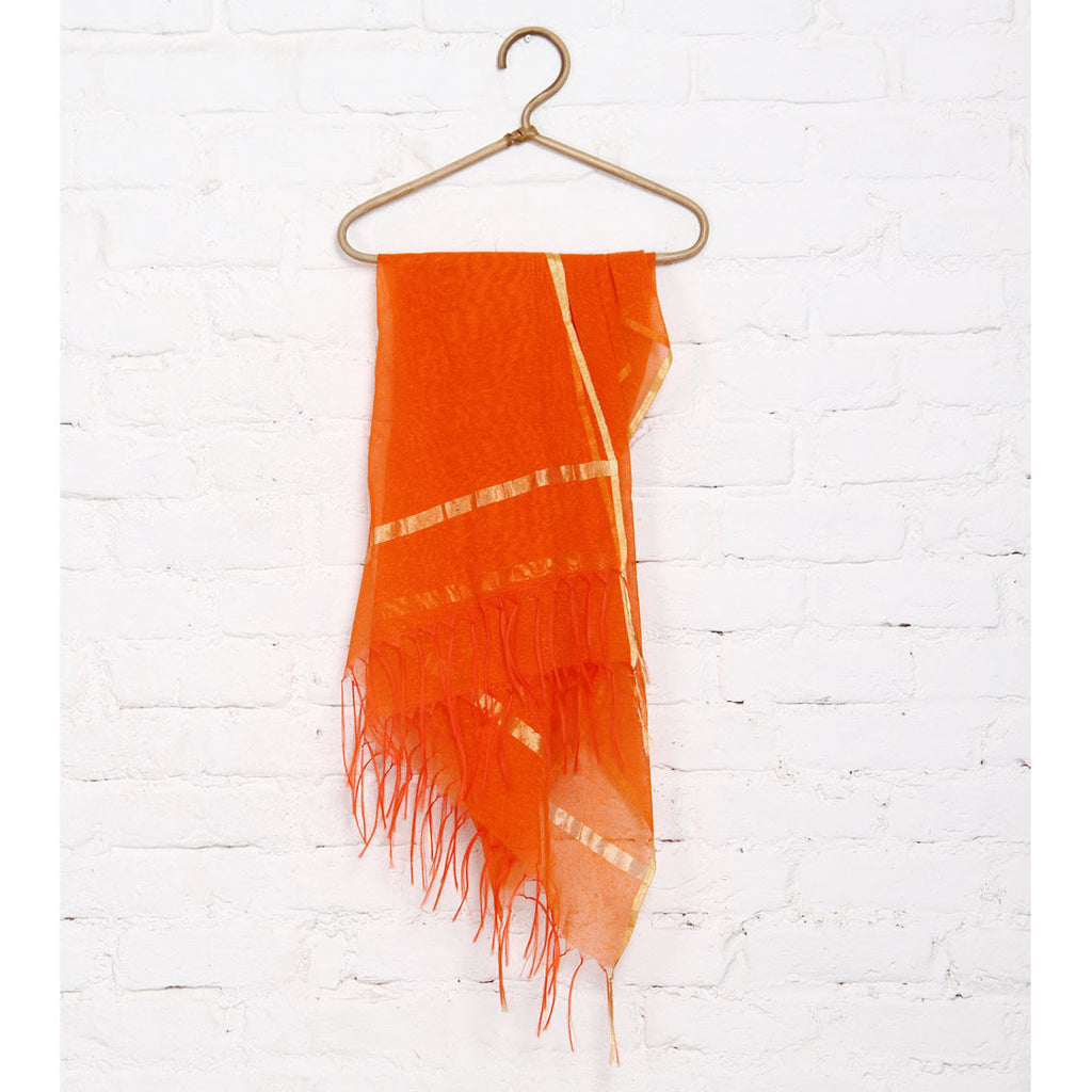 Orange Raw Silk Dupatta