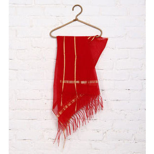 Red & Maroon Raw Silk Dupatta