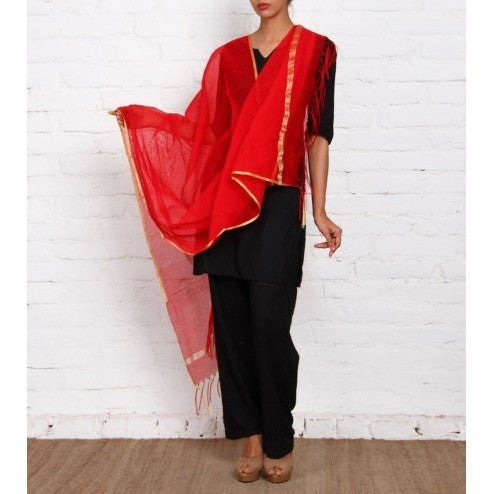 Red & Maroon Raw Silk Dupatta - rang