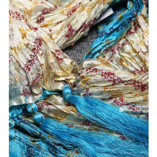 Turquoise & Cream Silk Blend Stole