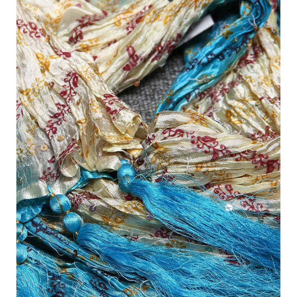 Turquoise & Cream Silk Blend Stole - rang