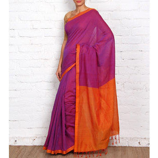Purple Mangalgiri Cotton Saree - rang