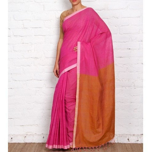 Pink Mangalgiri Cotton Saree - rang