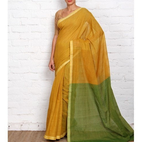 Yellow Mangalgiri Cotton Saree - rang