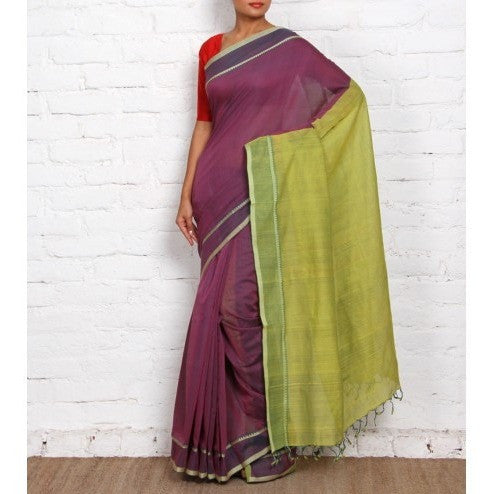 Purple Mangalgiri Cotton Sarees - rang