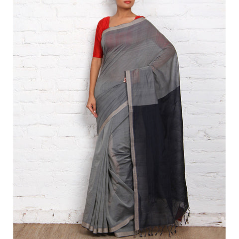 Grey & Black Mangalgiri Cotton Saree