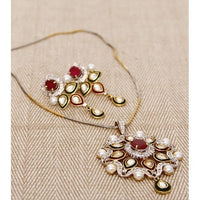 Kundan & Stone Embellished Necklace Set - rang