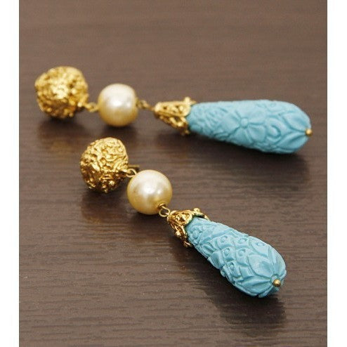 Golden & Blue Dangler Earrings