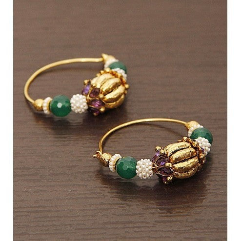 Golden & White Round earrings - rang