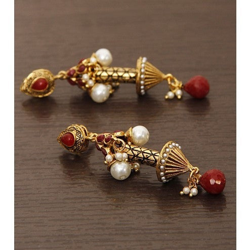 Golden & Red Embellished Earrings