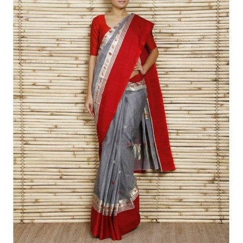 Grey & Red Cotton Saree with Resham Border - rang