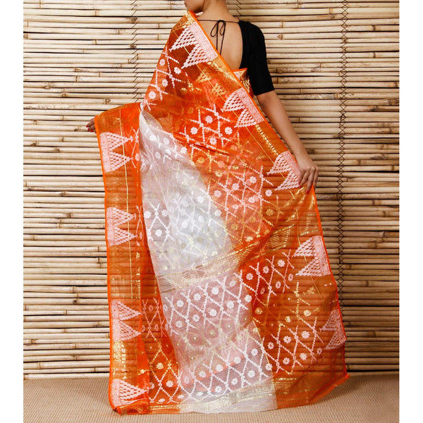 Off White & Orange Jamdani Cotton Silk Saree - rang