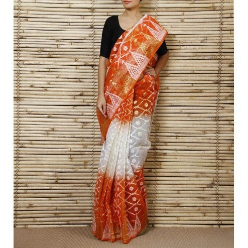 Off White & Orange Jamdani Cotton Silk Saree