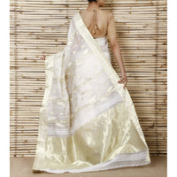 Off White & Golden Jamdani Cotton Silk Saree