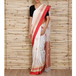 Off White Bengal Handloom Cotton Saree - rang