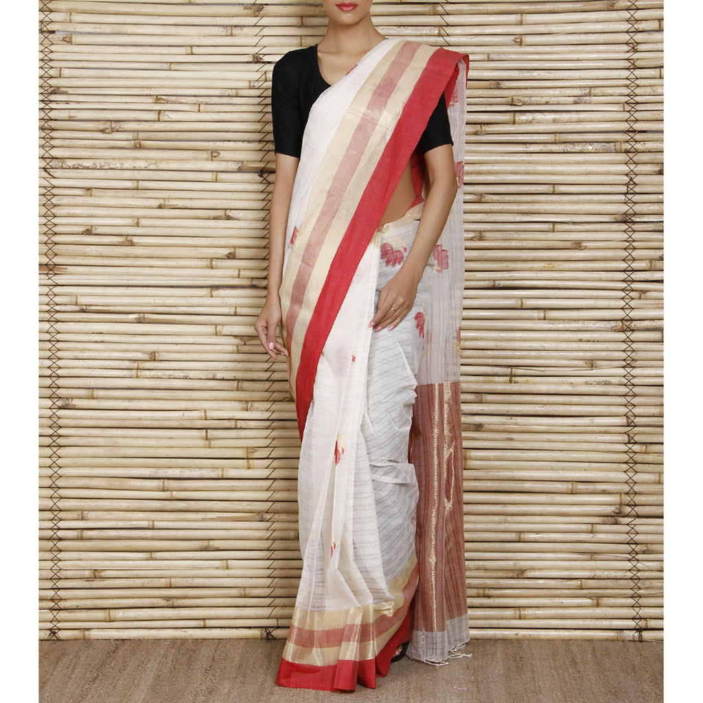 Off White Bengal Handloom Cotton Saree
