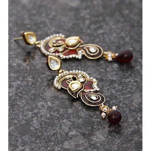 Red & Golden Embellished Earrings
