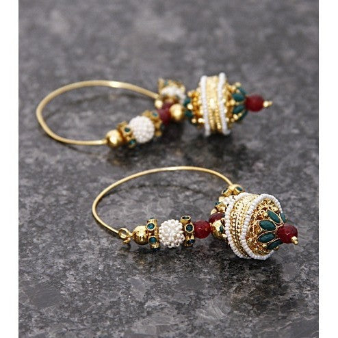 Multicoloured Changing Stones Bali Earrings - rang