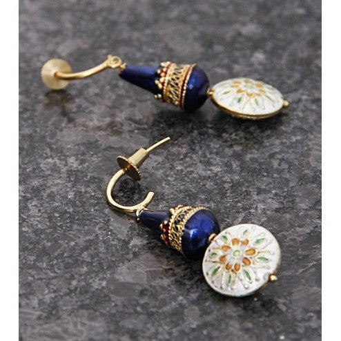 Blue & White Embellished Earrings - rang