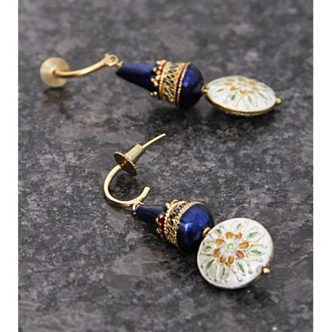 Blue & White Embellished Earrings