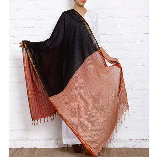 Black & Red Block Printed Cotton Dupatta - rang