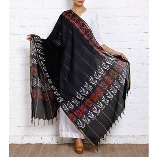 Black Block Printed Cotton Dupatta