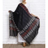 Black Block Printed Cotton Dupatta - rang