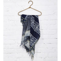 Indigo Block Printed Cotton Silk Dupatta - rang