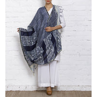 Indigo Block Printed Cotton Silk Dupatta