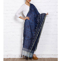 Indigo Block Printed Cotton Silk Dupattas (100000050300) - rang