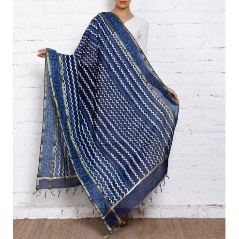 Indigo Block Printed Cotton Silk Dupattas (100000050305)