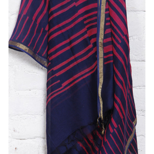Pink & Blue Block Printed Cotton Silk Dupatta - rang