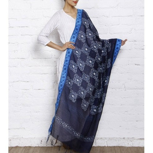 Indigo Block Printed Cotton Silk Dupattas (100000050307) - rang