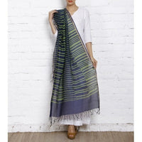 Green & Blue Block Printed Cotton Silk Dupatta - rang