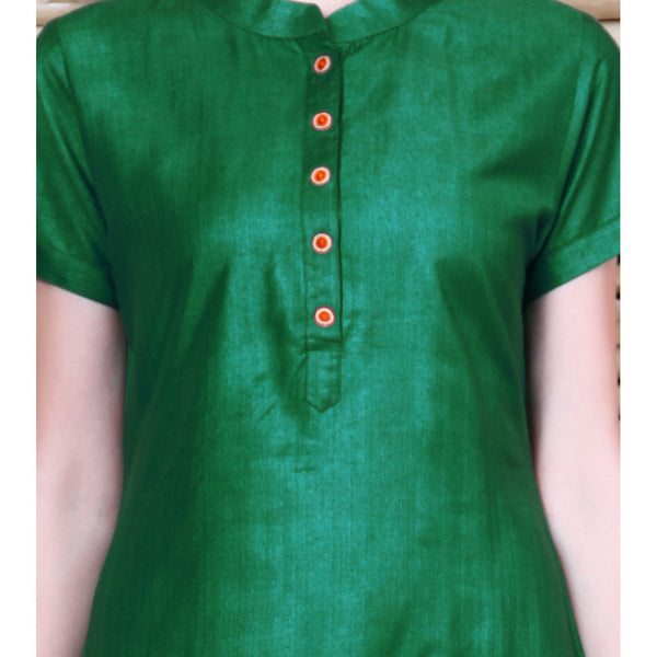 Vedanta - Green Tussar Cotton Kurta